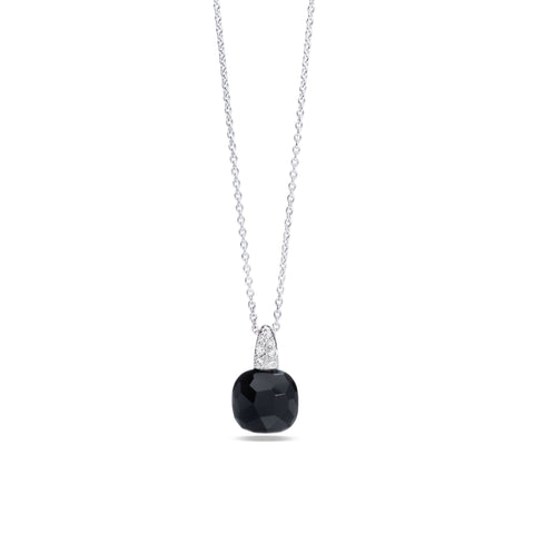 Black Onyx and White Diamond 18k Gold Necklace