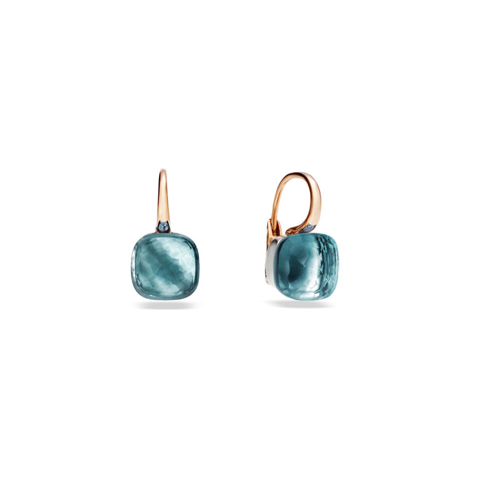 Nudo Classic Earrings in 18k Rose and White Gold with Sky Blue Topaz