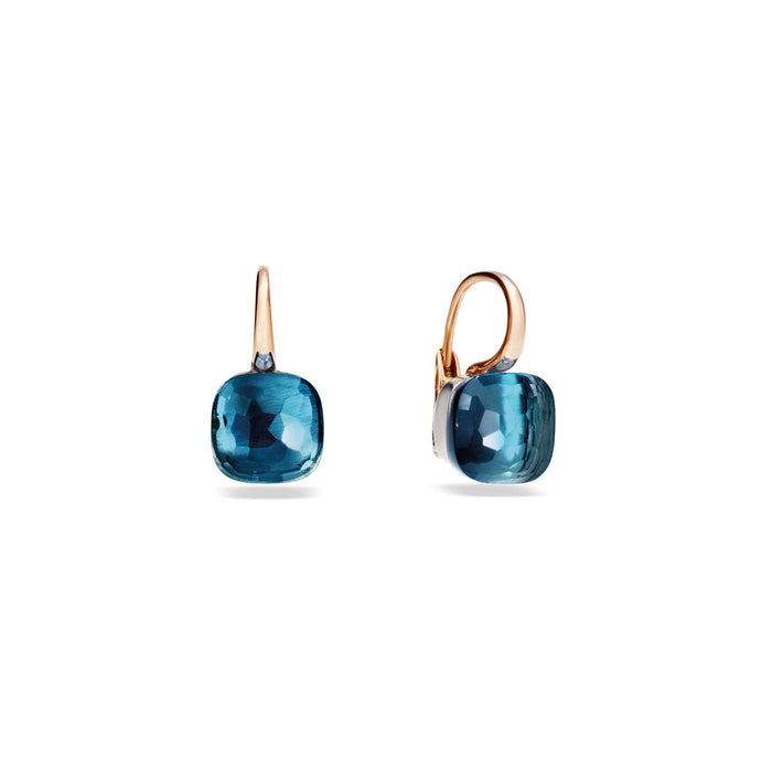 Nudo Classic Earrings in 18K Rose and White Gold with London Blue Topaz