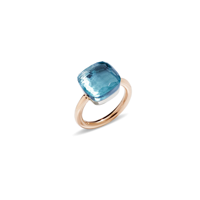 Nudo Maxi Ring in 18k Rose Gold and White Gold with Sky Blue Topaz