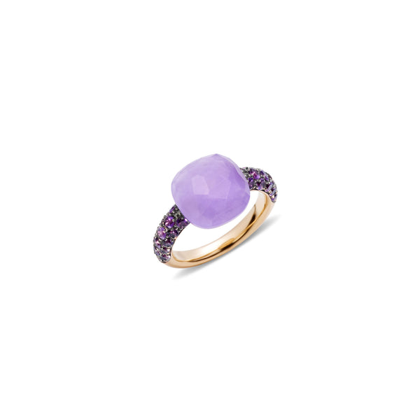 Lavender and amethyst 18k gold ring