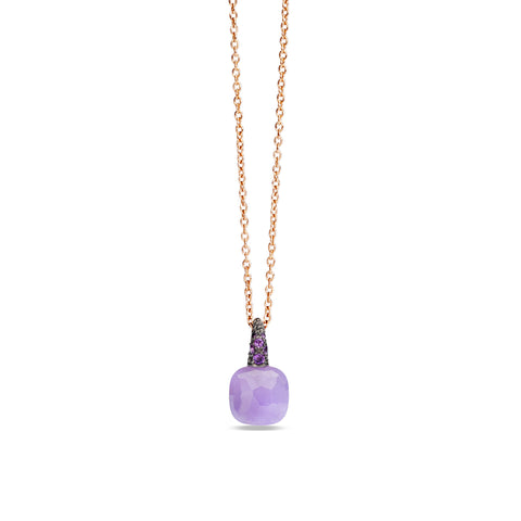Lavender and amethyst 18k gold necklace