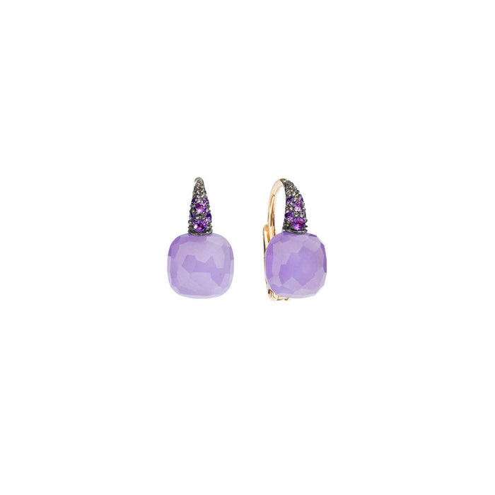 Capri Earrings in 18k Rose Gold with Lavender Jade and Amethyst