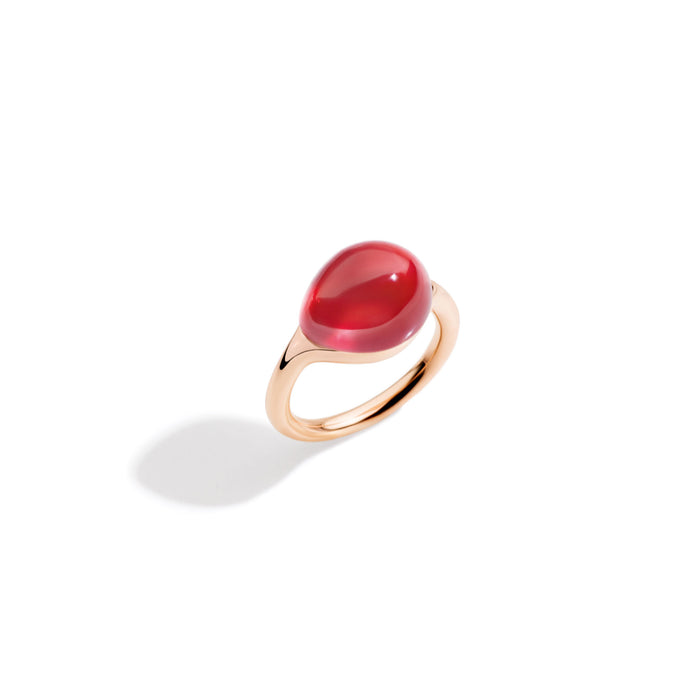 Pomellato Rouge Passion Ring in 9k Rose Gold with Orange Sapphire