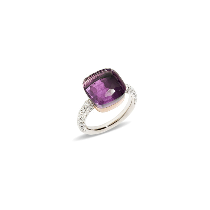 Nudo Maxi Diamond Ring in 18k White Gold and Rose Gold with Amethyst and Diamonds