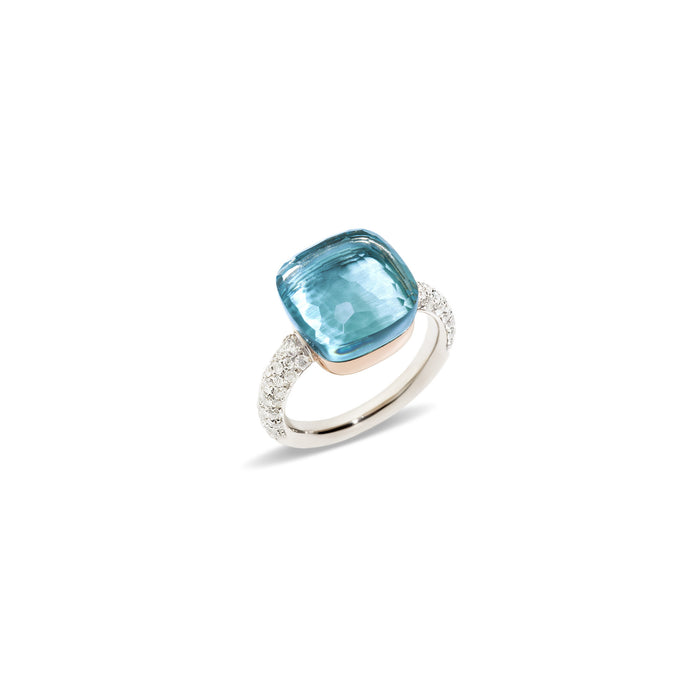 Nudo Maxi Diamond Ring in 18k White Gold and Rose Gold with Sky Blue Topaz and Diamonds