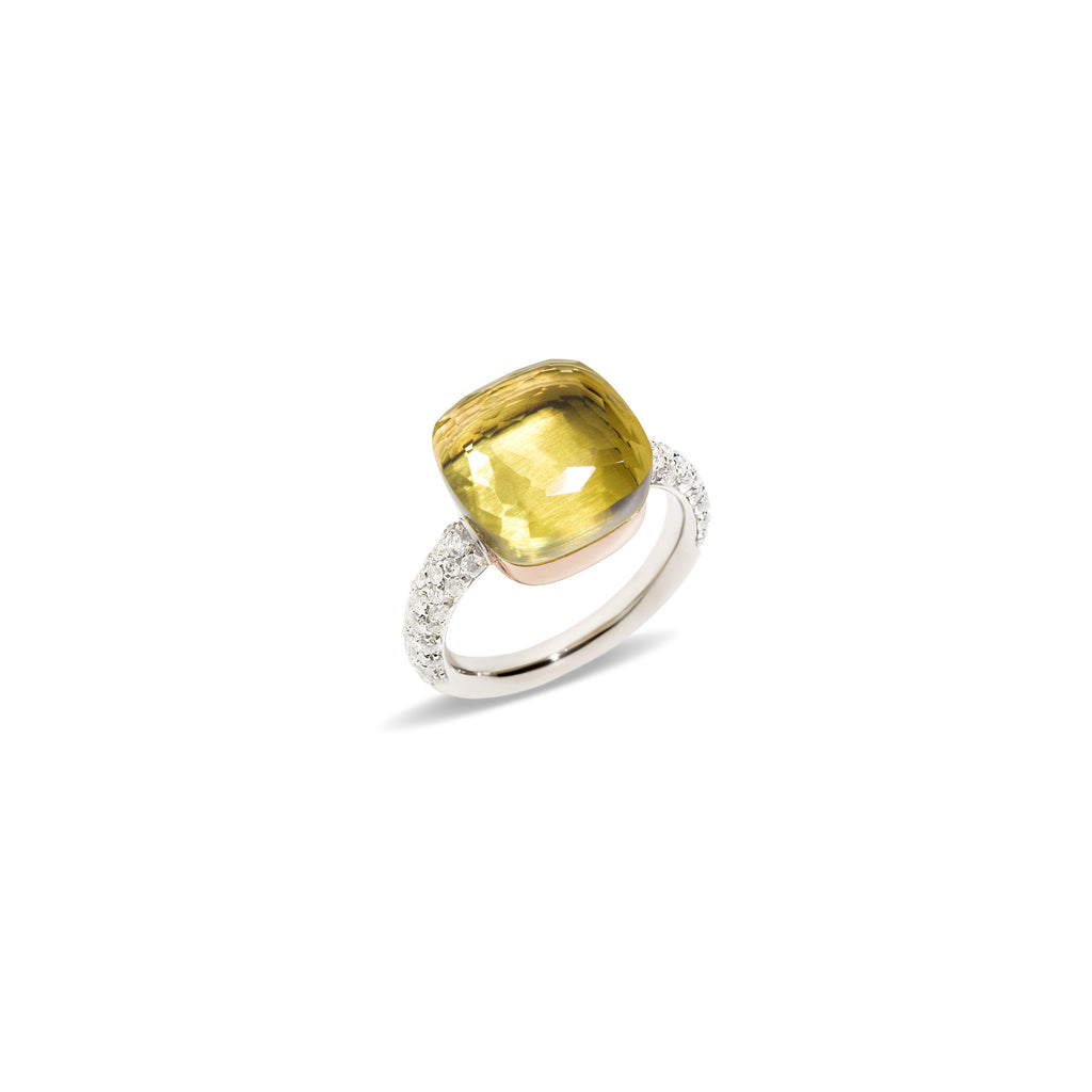 Nudo Lemon Quartz Large Rose Gold Diamond Ring