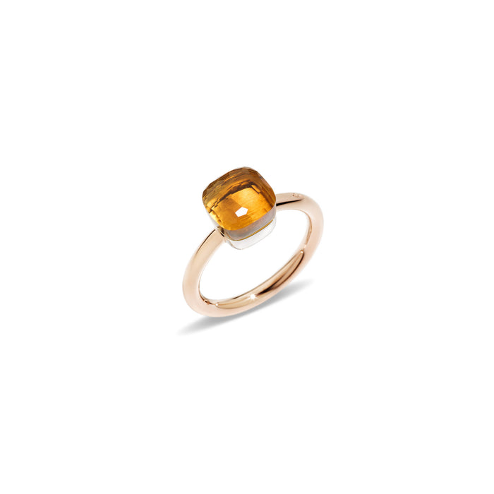 Nudo Petit Ring in 18k Rose Gold and White Gold with Citrine Quartz