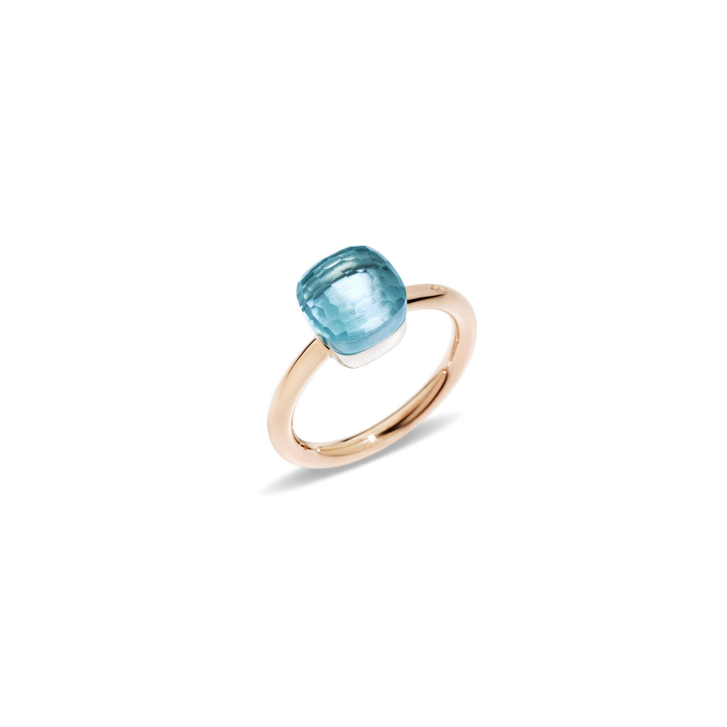 "Nudo ""piccolo"" Small Blue Topaz Rose Gold Ring"
