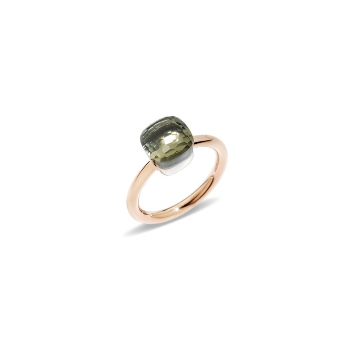 Nudo Petit Ring in 18k Rose Gold and White Gold with Prasiolite