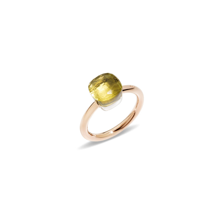 Nudo Petit Ring in 18k Rose Gold and White Gold with Lemon Quartz