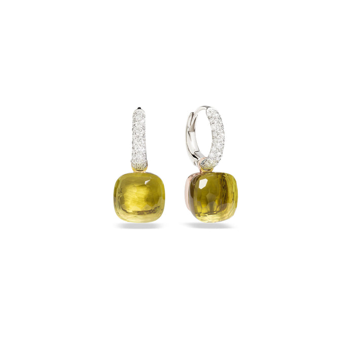 Nudo Classic Earrings in 18k Rose and White Gold with Lemon Quartz and Diamonds