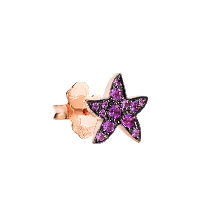 Dodo Starfish Earrings in 9k Rose Gold and Amethysts