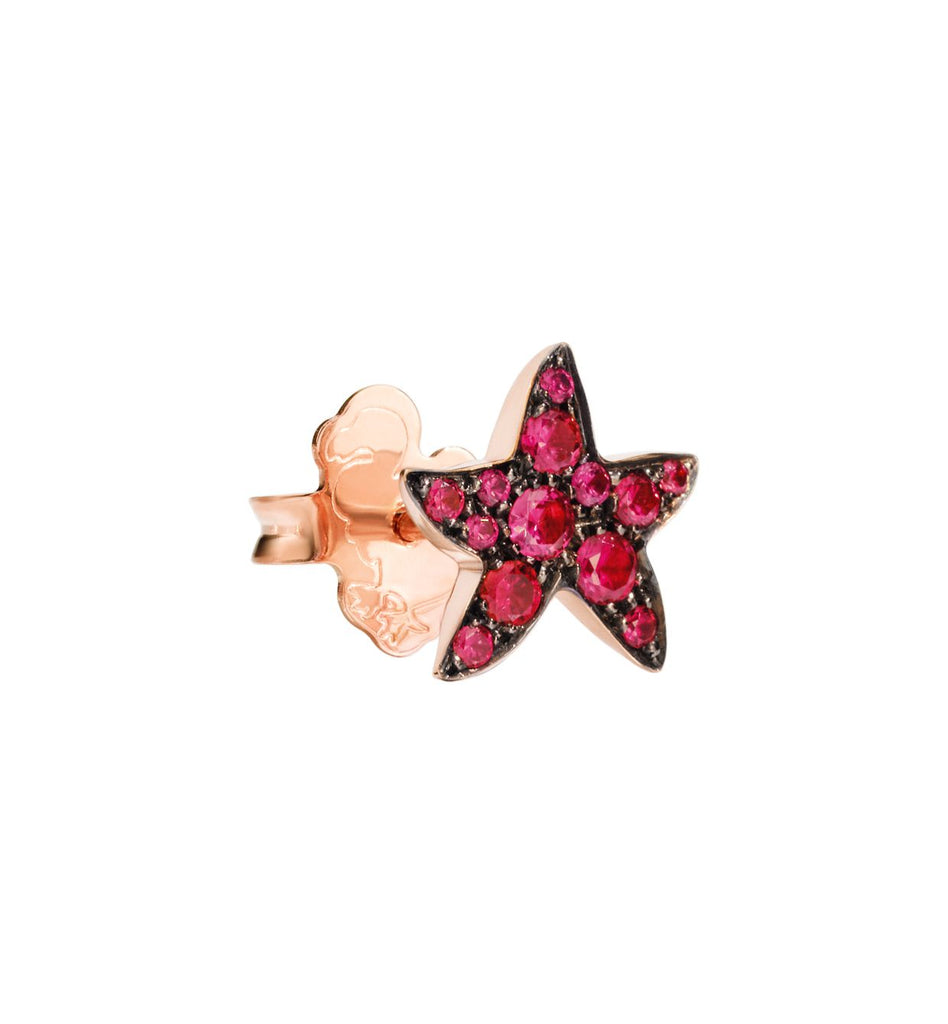 Dodo Starfish Earrings in 9k Rose Gold and Rubies