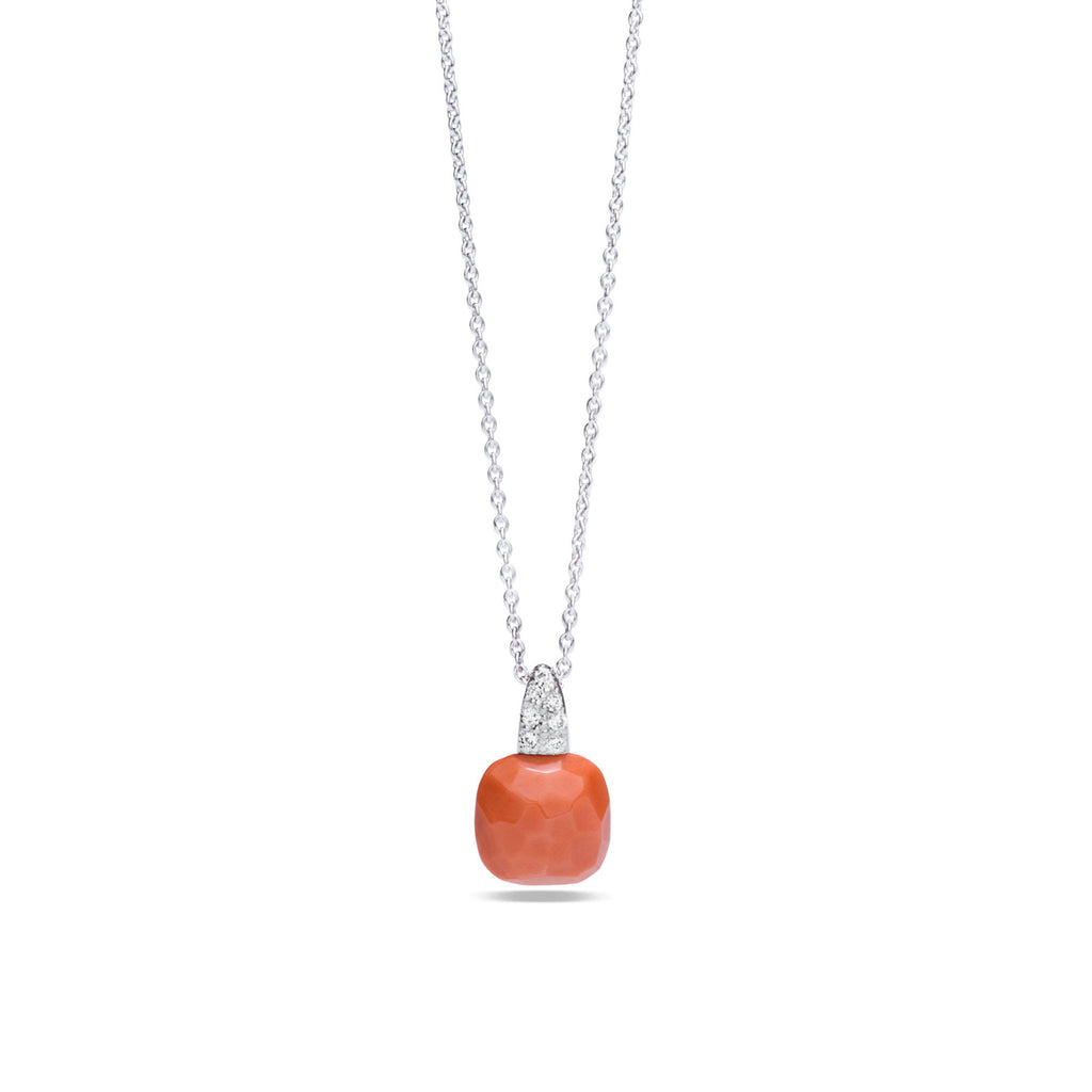 Coral and Diamond 18k White Gold Necklace