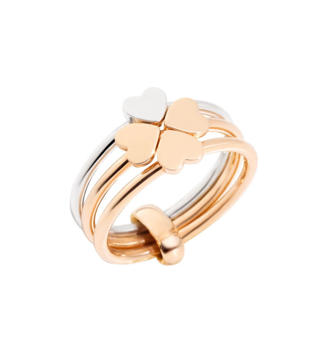 Dodo Lucky In Love Ring in 9k Rose Gold and Silver