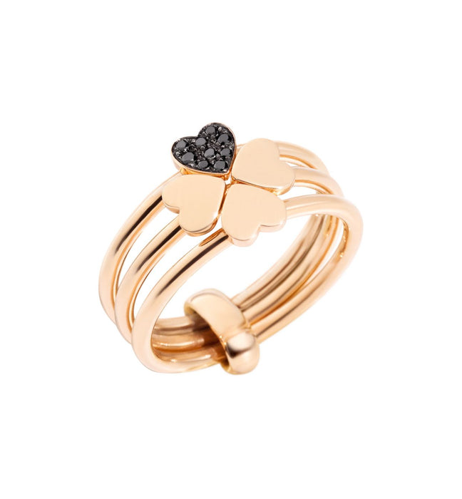 Dodo Lucky In Love Ring in 9k Rose Gold with Black Diamonds
