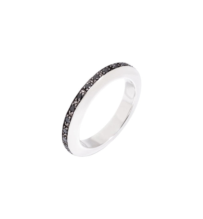 DoDo Disc Ring in Silver with Black Diamonds