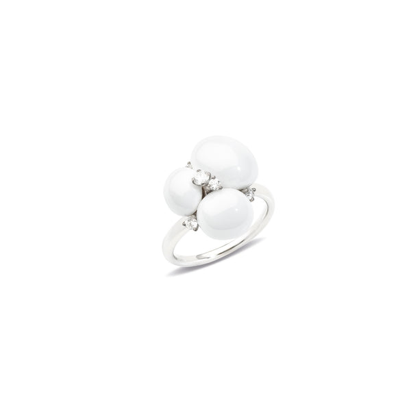 Capri White Ceramic and Diamond 0.17ct Ring