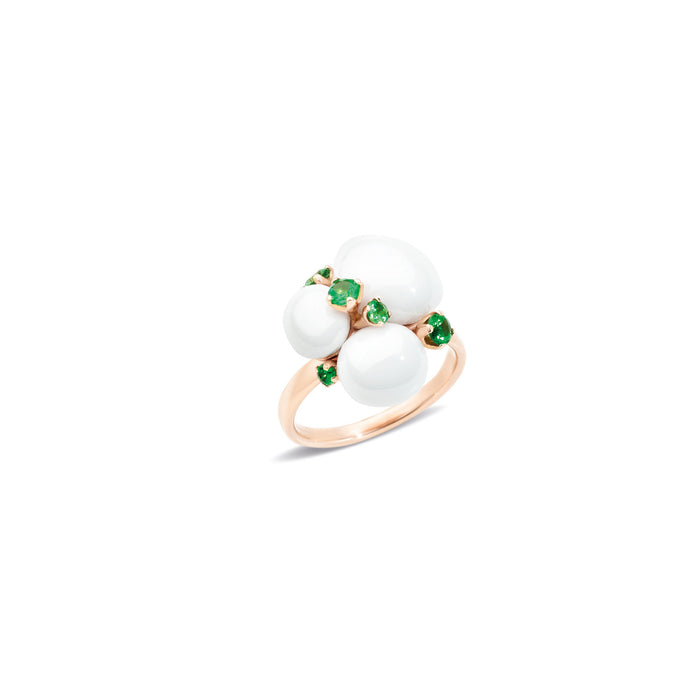 Capri Ring in 18k Rose Gold with White Ceramic and Tsavorites