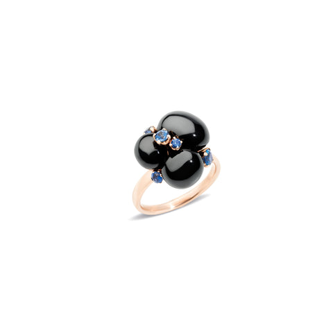 Capri Black Ceramic and Blue Sapphires 0.35CT Ring