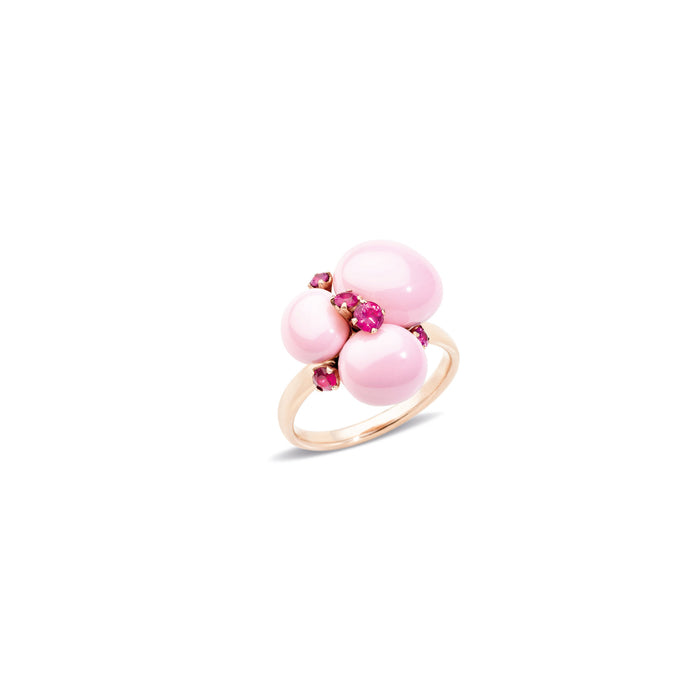 Capri Ring in 18k Rose Gold with Pink Ceramic and Rubies