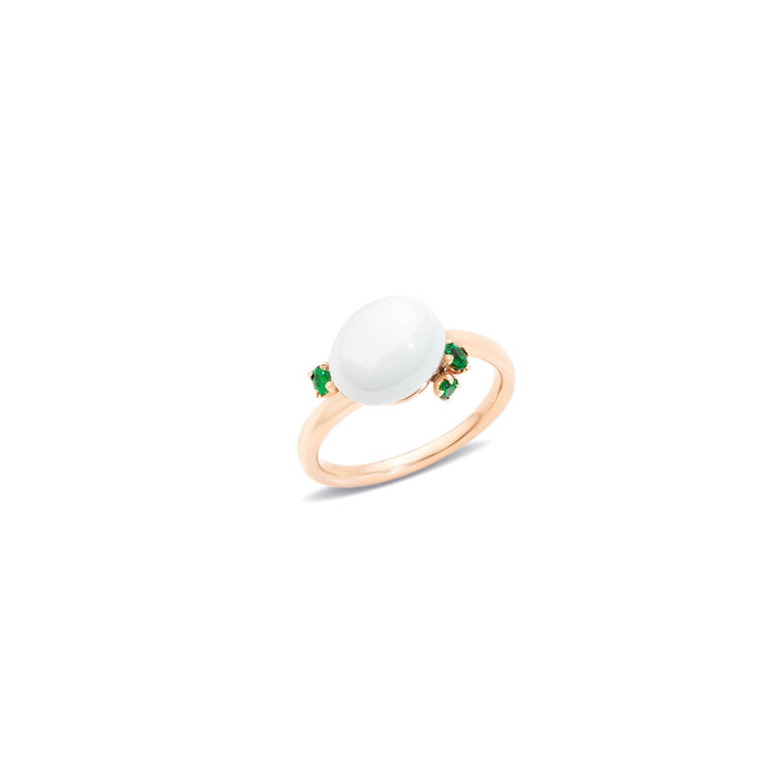 Capri Ring in 18k Rose Gold with White Ceramic and Tsarovites