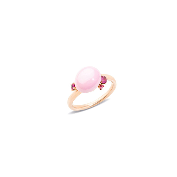 Capri Pink Ceramic and Rubies 0.25CT Ring