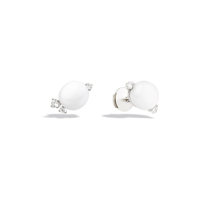 Capri Earrings in 18k Rhodium-plated White Gold with White Ceramic and Diamonds