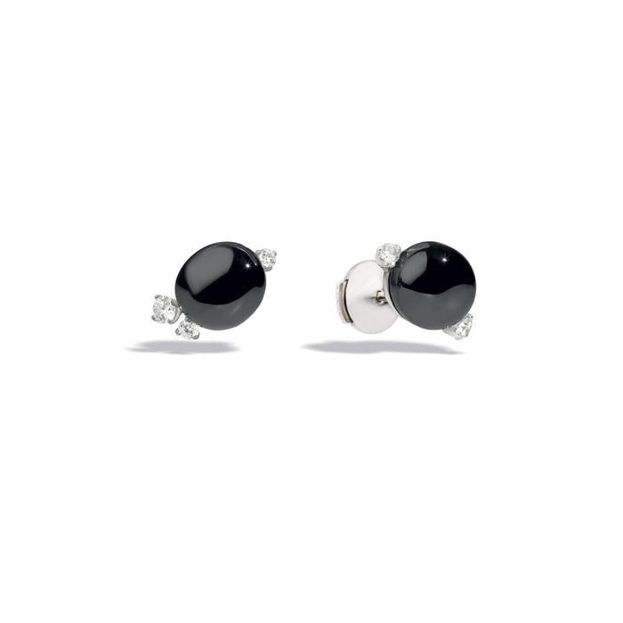 Capri Earrings in 18k Rhodium-plated White Gold with Black Ceramic and Diamonds