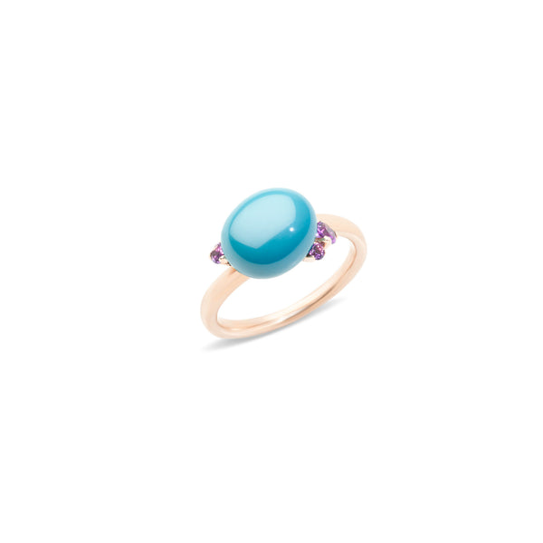 Capri Turquoise Ceramic and Amethsyt 0.19ct Ring