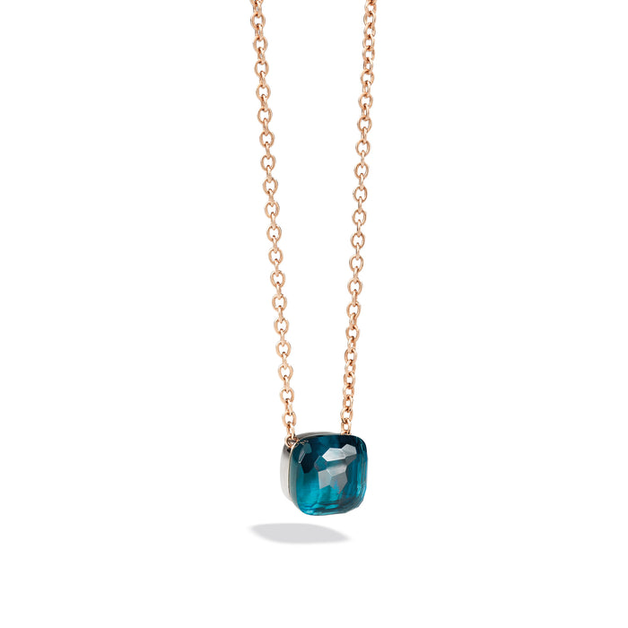 Nudo Necklace with Large Pendant in 18k rose and white gold and Blue Topaz