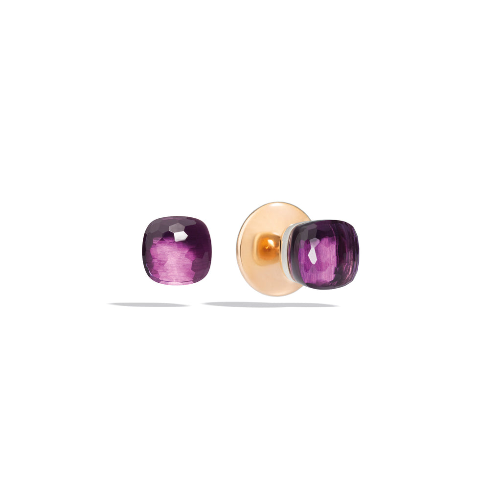Stud Earrings in Rose Gold and White Gold, Amethyst