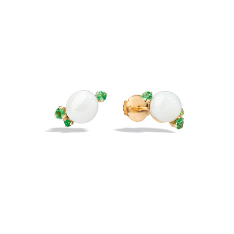 Capri White Ceramic and Tsavourites 0.48CT Earrings