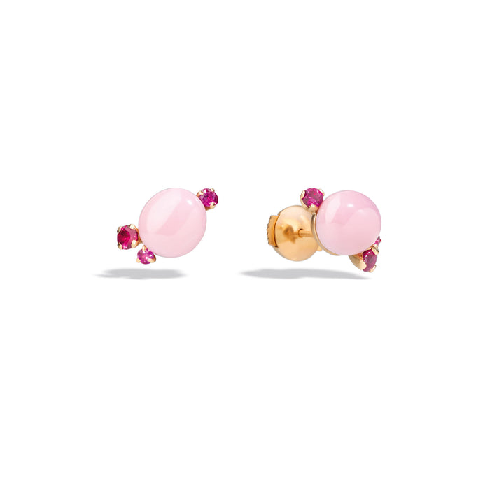 Capri Earrings in 18k Rose Gold with Pink Ceramic and Rubies