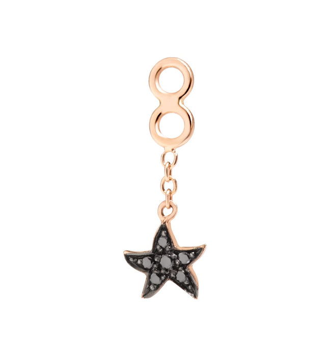 Dodo Starfish Earrings Jacket in 9k Rose Gold and Black Diamonds