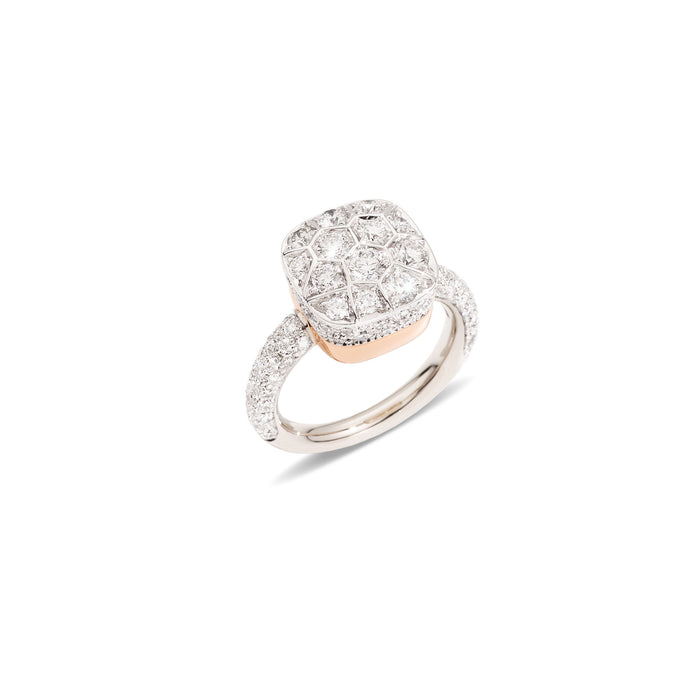 Nudo Maxi Diamond Ring in 18k White Gold and Rose Gold with Diamonds