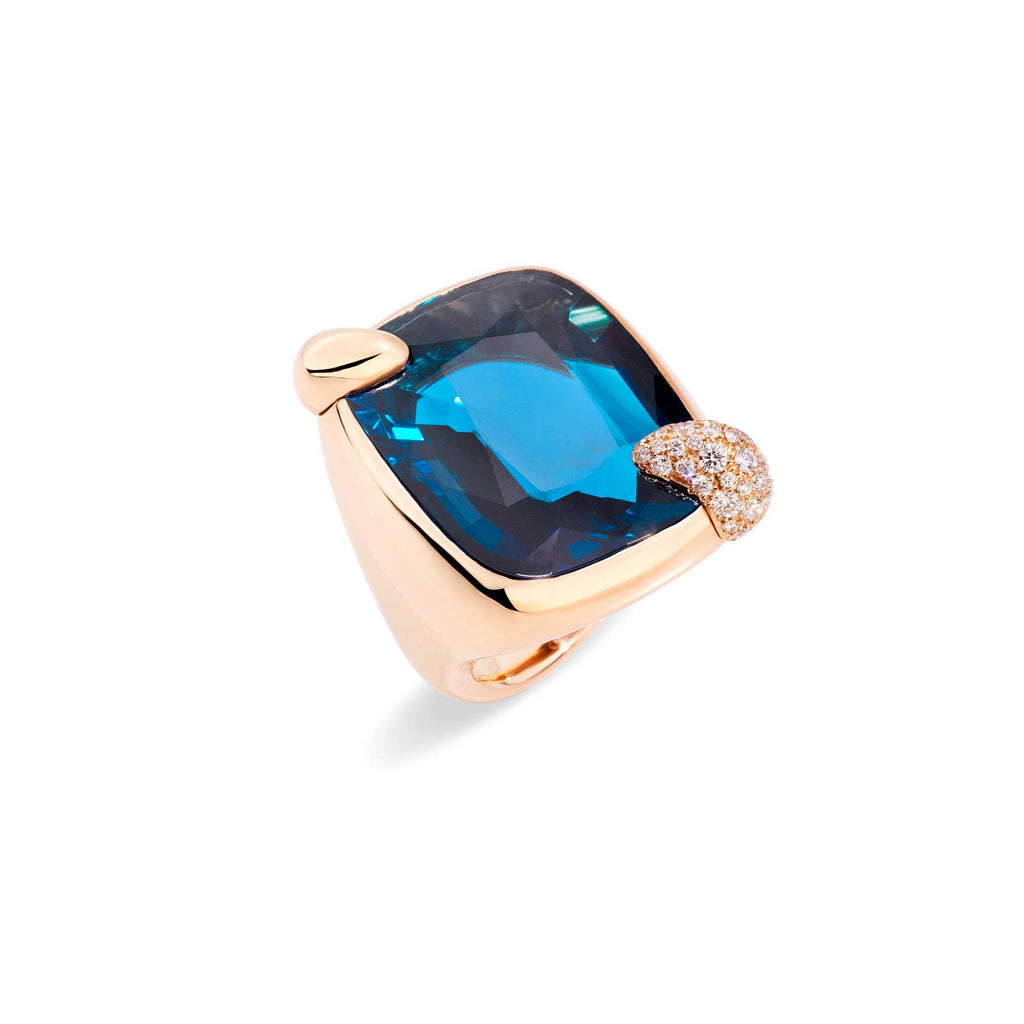 Ritratto London Blue Topaz  and Diamonds Rose Gold Ring