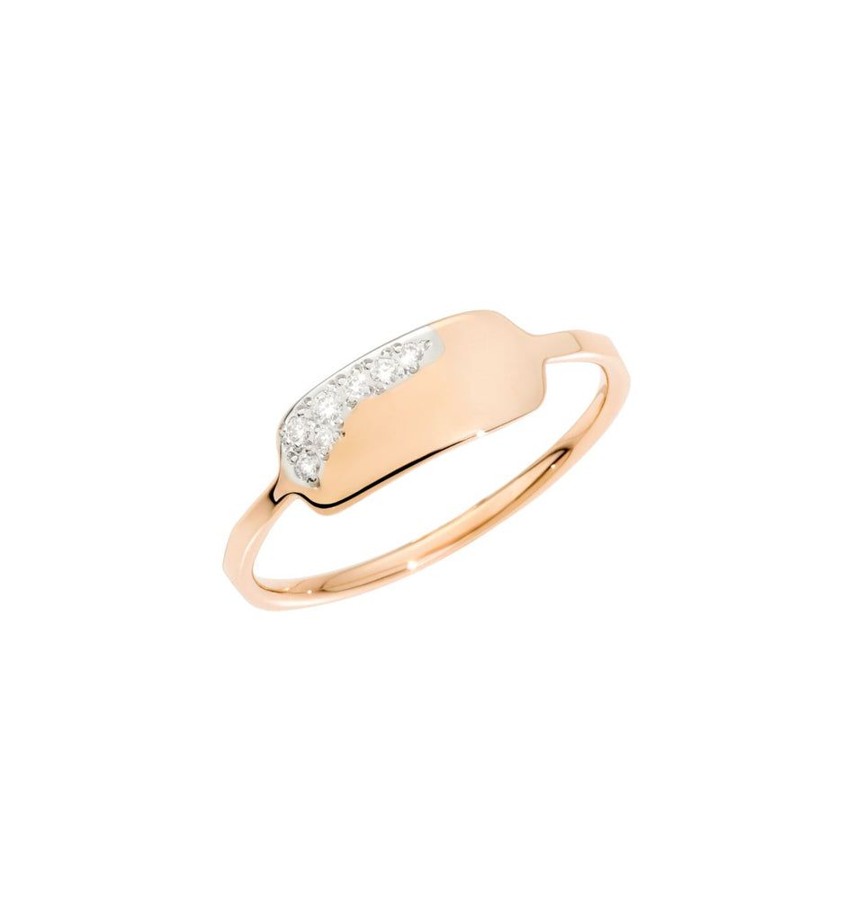 Dodo Precious Tag Ring 9kt Rose Gold with White Diamonds