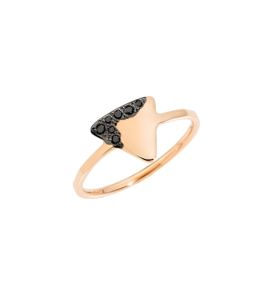Dodo Precious Tag Ring 9k Rose Gold with Black Diamonds