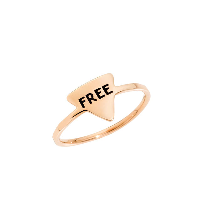 DoDo Free Ring 9k Rose Gold with Black Enamel