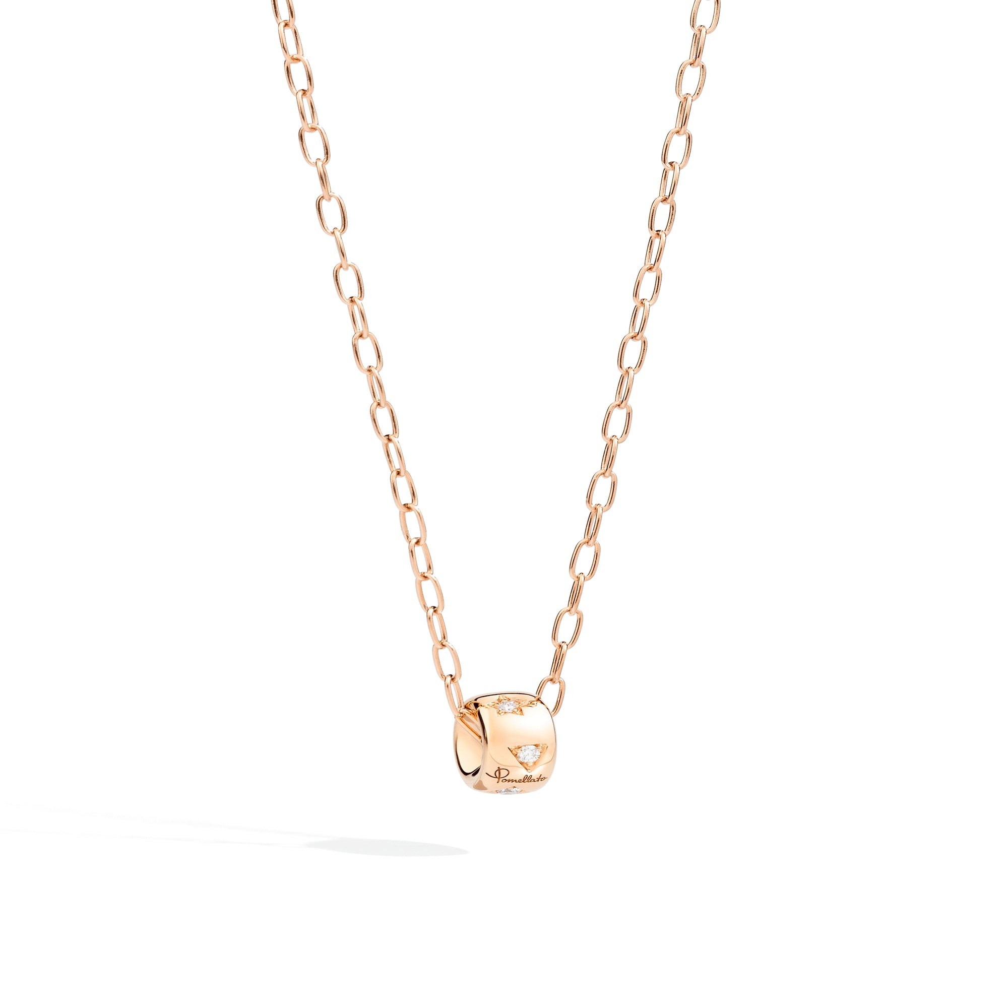 Iconica Necklace with Chain in 18k Rose Gold with Diamonds - Orsini Jewellers NZ