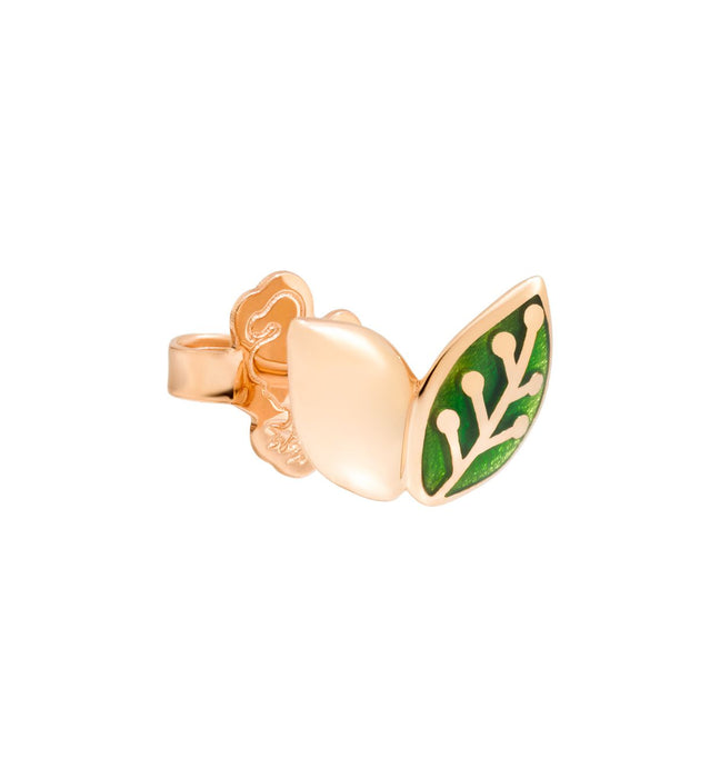 DoDo Leaf Earring in 9k Rose Gold and Green Enamel (single)