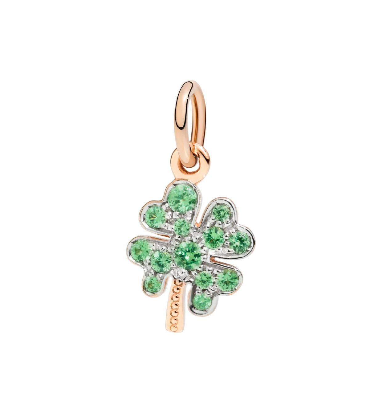 DoDo Four Leaf Clover Charm in 9k Rose Gold with Tsavorites - Orsini Jewellers NZ