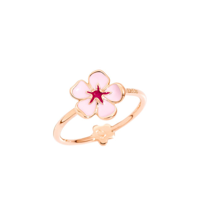 DoDo Ring Cherry Blossom in 9k Rose Gold with Pink Enamel