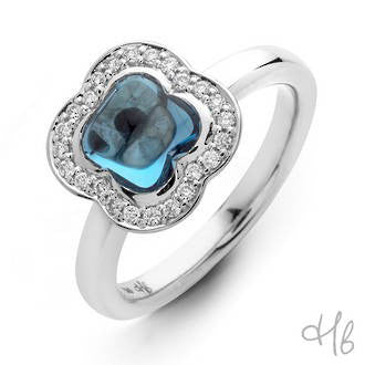 Quadrifoglio Blue Topaz Gemstone with Diamonds set in 18k Gold Ring