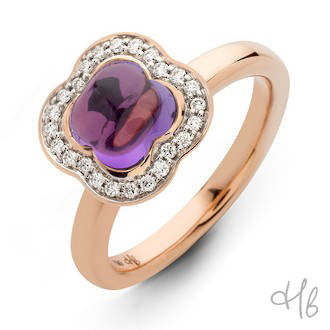 Quadrifoglio Amethyst Gemstone with Diamonds set in 18k Gold Ring