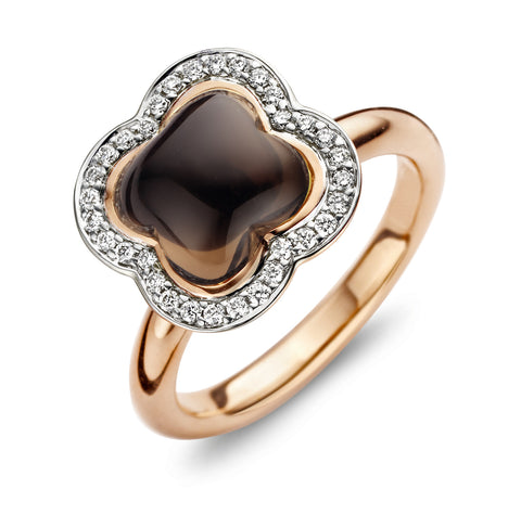 Quadrifoglio Smokey Quartz Gemstone with Diamonds set in 18k Gold Ring