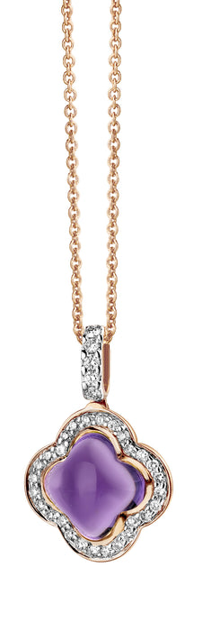 Quadrifoglio 18k Gold Moonstone & 0.25ct Diamond Halo Pave Drop Pendant