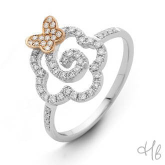 New Pop Flower & Butterfly 18k White Gold and Diamond Ring